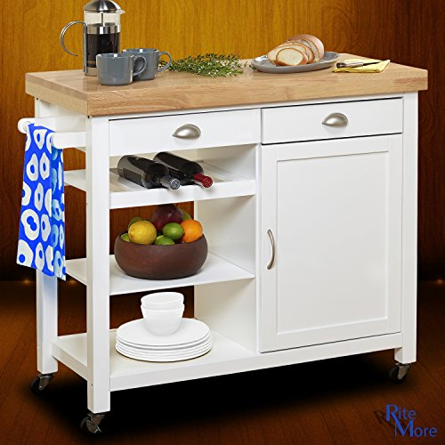 Large White Rolling Movable Kitchen Island On Wheels With Breakfast Bar, Wine Rack, and Storage