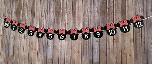 OrangeDolly Minnie mouse 12 month photo banner   one banner   Minnie Mouse Birthday Banner  Minnie mouse party supplies  Minnie mouse clubhouse party  First Birthday Decorations (Red Bow) for $<!--$15.99-->