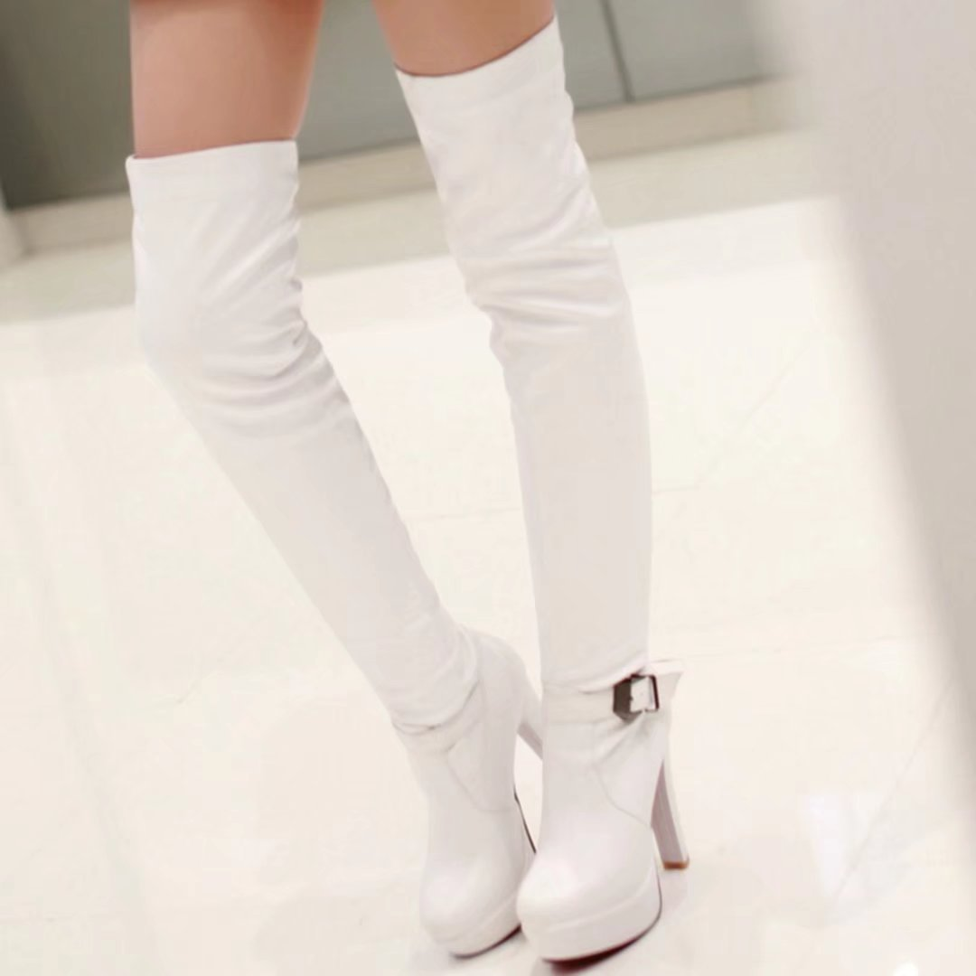 AIYOUMEI Women's Slip-on Block Heel Platform Winter Over The Knee Boots With Buckle B078MFG74G US 5.5 =China Size 36 =Foot Length 23 cm|White
