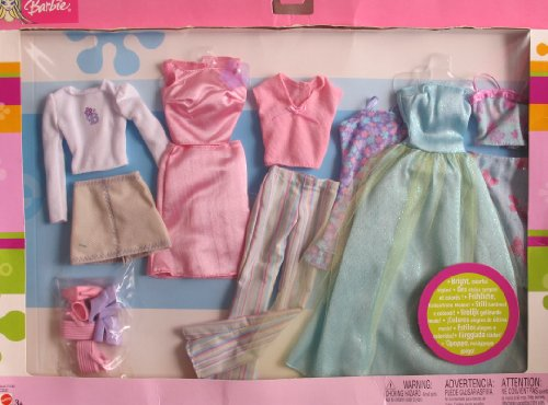 Barbie 6 FASHIONS Gift Pack BRIGHT COLORFUL STYLES! (2003) by Barbie