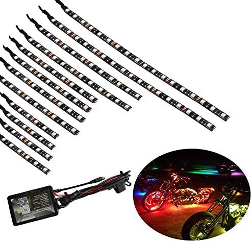 12Pcs Motorcycle LED Light Kit Strips Multi-Color Accent Glow Neon Lights Motorcycle Cellphone app waterproof Bluetooth Controller led motorcycle atv lights Music Sync for motorcycle,ATV,golf Car
