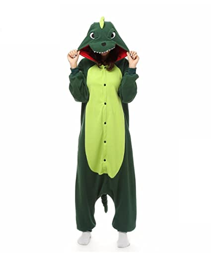 HYY@ Kigurumi Pajamas Dinosaur Leotard/Onesie Halloween Animal Sleepwear Dark Green Patchwork Polar Fleece