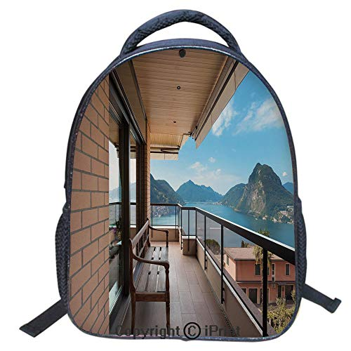 3D Print Backpack,Suitable for Kids,School Backpack,Book Bags,Travel Hiking Bag Backpack Collection Bags for Teen Girls Kids,16 inch,Lugano Lake Panoramic View from Terrace of Apartment Mountains and