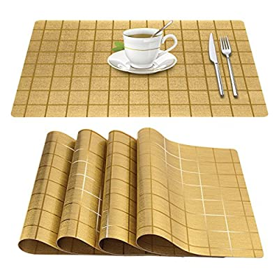 Xzhiyao Placemats, Heat-Insulation placemats Vinyl Non-Slip Anti-fouling and Waterproof Washable PVC Table Mats are Suitable for Family Kitchen Hotel Coffee Shop Dinning Restaurant Set of 4 - 🌟 ENVIRONMENTAL SAFETY METERIALS: The placemats are made of PVC, No poisonous and harmful substances are produced in the production process. You can safely use it 🌟 ULTRA HIGH TEMPERATURE RESISTANT: Designed to resist heat, It can withstand a temperature of 176 degrees. 🌟 LONGER SERVICE LIFE: uv protected to resist fading, designed to last for years with daily use. Washable,non-fading,non-stain,Not mildew,Wipe Clean,wearproof,dries very quickly. - placemats, kitchen-dining-room-table-linens, kitchen-dining-room - 515tsA4nOGL. SS400  -