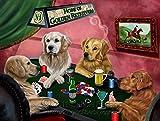 Home of Golden Retrievers 4 Dogs Playing Poker Art Portrait Print Woven Throw Sherpa Plush Fleece Blanket (37x57 Sherpa)