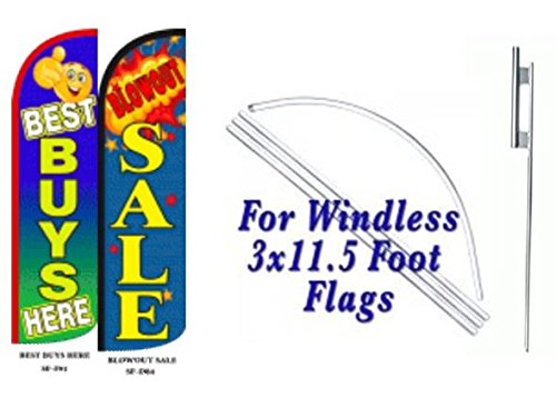 Best Buys Here Blowout Sale King Windless Flag w/Kit-Pack of 2 by OnPoint Wares