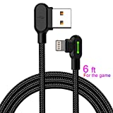 Made The Game Connecting Cable Apple- 6 ft 1800mm Length 2A Current 90 Degree USB AM Reversible Cool Working Indicator Designed Apple iPhone Ipad Charger