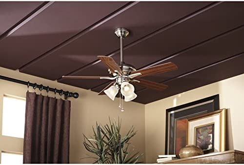 Harbor Breeze Lansing 42-in Brushed Nickel Indoor Downrod Mount Ceiling Fan with Light Kit