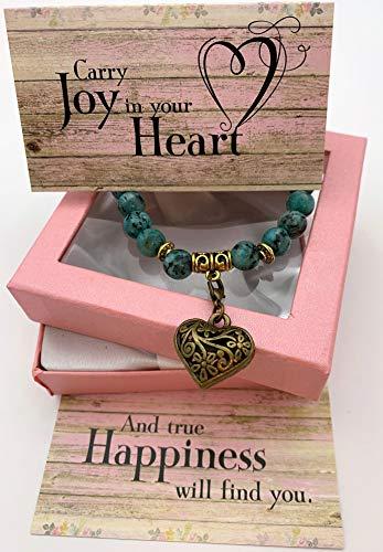 Smiling Wisdom - Heart Stretch Bracelet Gift Set - Carry Joy in Your Heart Keepsake Greeting Card - Encourage Friend, Female, Woman - Green Rain Flower Stones - Limited Edition