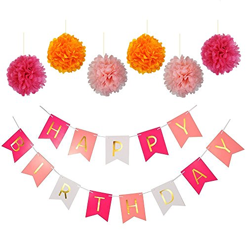 Pastels Pink White Gold Happy Birthday Bunting Banner with Set of 6 Assorted Colored Pink, Hot Pink, Orange Tissue Paper Pom Poms Balls for Birthday Party Decoration (Colored)