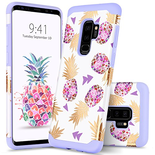 Samsung Galaxy S9 Plus Case GUAGUA Colorful Pineapple Girls Women Slim Hybrid Hard PC Soft Rubber Cover Anti-Scratch Shockproof Protective Phone Case for Samsung Galaxy S9+ Plus (2018) Purple White