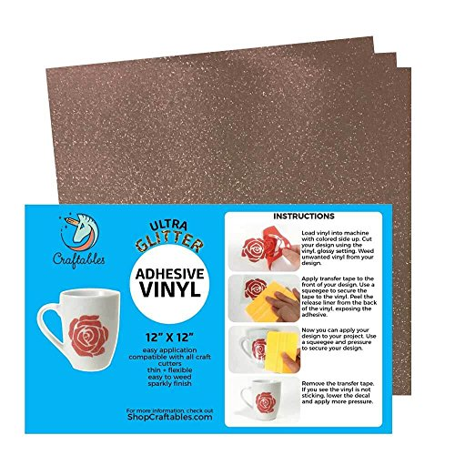 Craftables Rose Gold Ultra Glitter Adhesive Vinyl for Cricut, Silhouette Cameo, and Craft Cutters - (3) 12in x 12in sheets