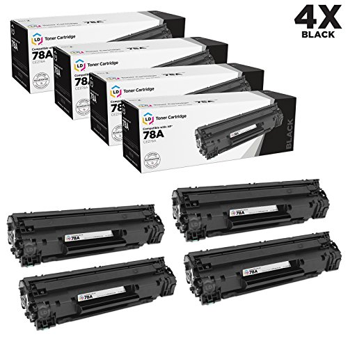4 Pack Laser Toner (LD Compatible Replacement Laser Toner Cartridges for Hewlett Packard CE278A (HP 78A) Black (4 Pack) for use in HP Laserjet P1566, Pro M1536dnf, and P1606dn Printers)