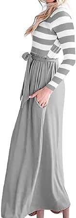 DressUWomen Cuello redondo a rayas de moda remiendo de la manga larga vestidos cruzados vendaje para Mujers