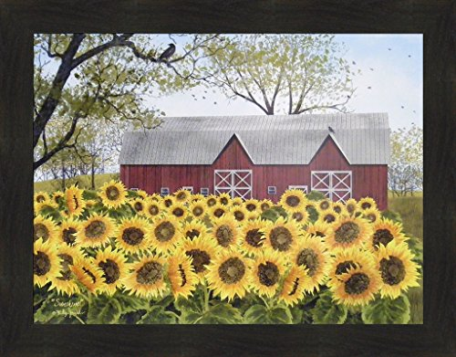 Sunshine by Billy Jacobs 22x28 Red Barn Farm Sunflowers Flowers Framed Primitive Folk Art Print Picture