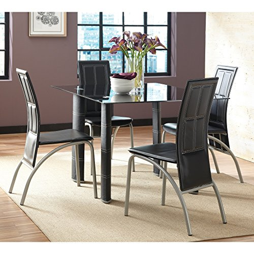 Modern Dining Table Set for 4 Metal & Glass 8mm Construction Glass Top Kitchen Dining Table Set Patio Furniture Coffee Table Contemporary Black Faux Leather