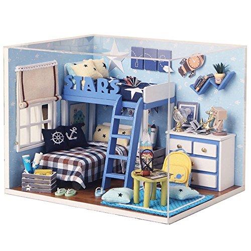 Miniature Cast Iron Stove (S Kaiko Wood Dollhouse with Furniture Mini House Handmade DIY Dollhouse Kit Dollhouse Miniature Living Room with LED Light Dollhouse Furniture Set for Gift (blue))