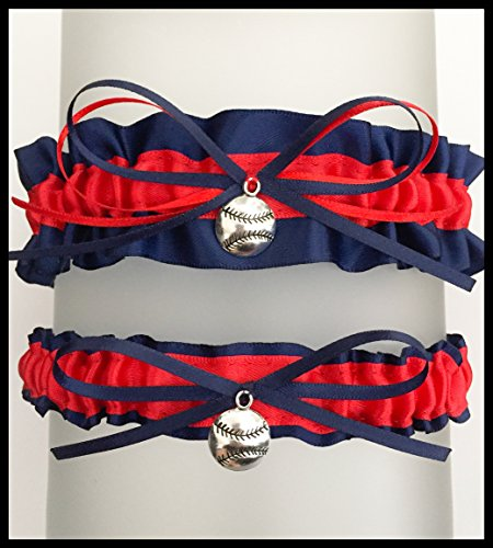 SEXY Navy Blue Red Boston Inspired Satin Baseball Charm Wedding Bridal Garter ()