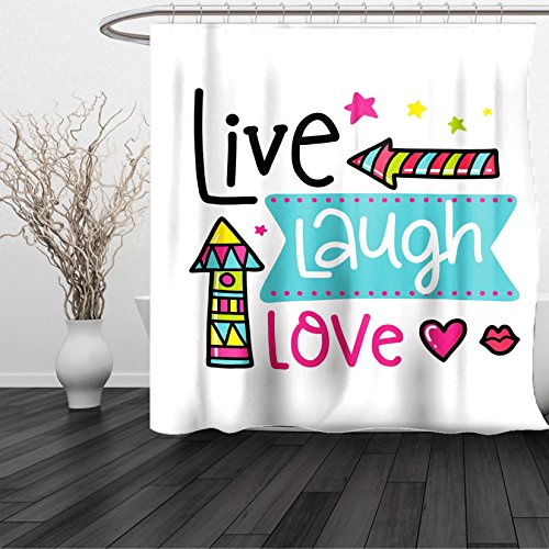 HAIXIA Shower Curtain Live Laugh Love Lively Colors Cartoon Arrows with Geometric Shapes Kiss Hearts Phrase Multicolor