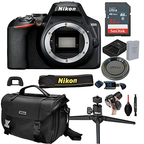 Nikon D3500 DSLR Camera Body (No Lens)+ 32GB Card, Tripod,Case and More (13pc Bundle)