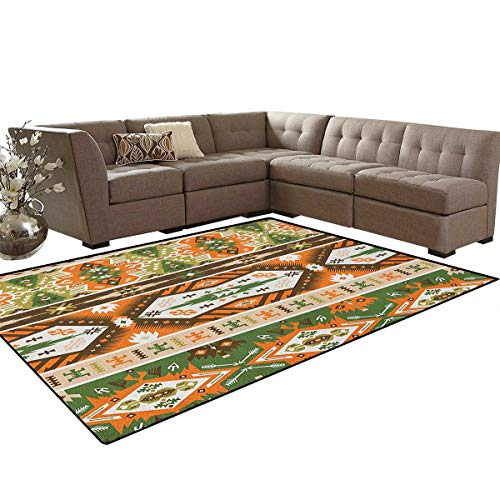 Amber Living Room Upholstery - Tribal,Carpet,Vector Design with Tattoo Aztec Mayan Culture Style Stripes Shapes Print,Rugs for Living Room,Amber Fern Green Brown Size:6'x9'