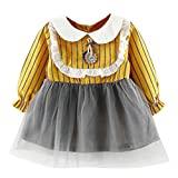❤️Baby Dress,Hot New Fashion 2018 Neartime Newborn Toddler Kids Infant Girls Lace Stripe Clothes Long Sleeve Party Princess Dresses (12M-18M, Yellow)