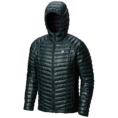 Mountain Hardwear Mens Ghost Whisperer Insulated Down Water Repellent Jacket with Hood - Blue Spruce - S