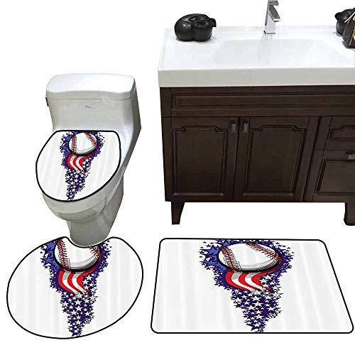 3 Piece Toilet mat Set Sports Decor Stars and Stripes Fireworks Patriotic Baseball Celebration Holiday Flag Customized Rug Set ()