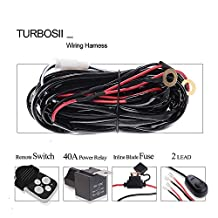 """TURBOSII 2""""-9"""" Offroad Led Work Light Bar Wirless Remote Wiring Harness Kit Fuse Relay On/Off Switch Fog Light Heavy Duty Wire 2 Lead for Polaris Crf230L Dirtbike Harley Jeep Wrangler Jk Tj Tacoma"""