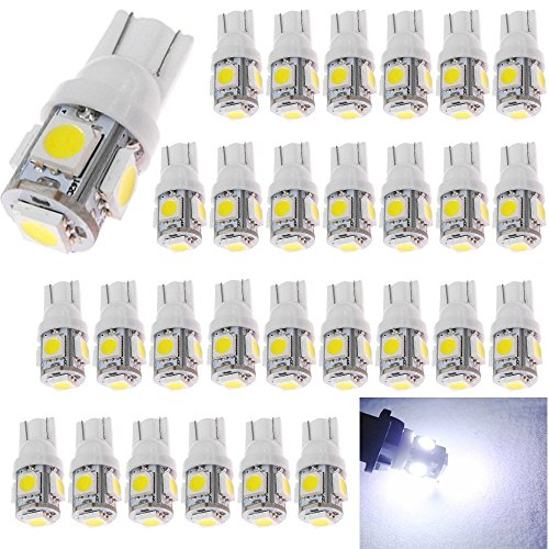 194 White LED Light 12V,120Lum 6500k AMAZENAR Car Interior and Exterior T10 5-SMD 5050 Chips Replacement For W5W 168 2825 Map- Dome- Courtesy- License Plate- Dashboard Side Marker Light by AMAZENAR