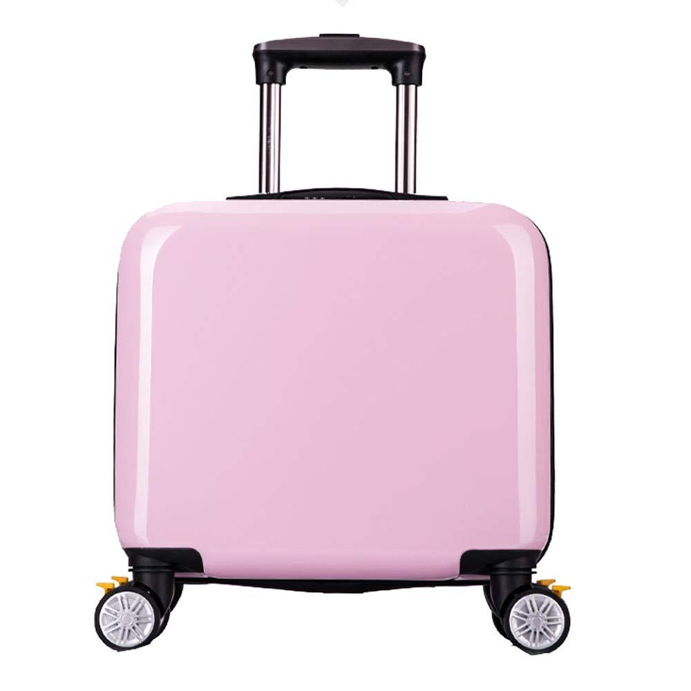 トロリースーツケース小さな新鮮な漫画のスーツケースかわいい子供のトロリーケース小さな旅行バッグユニバーサルホイール18インチピンク   B07KTMF67H