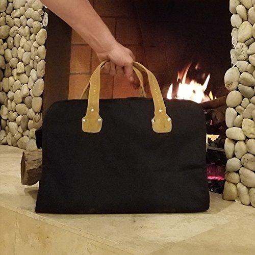 (Mack&G's Elemental Canvas Firewood Carrier Sling | Reinforced Suede Handles (Black))