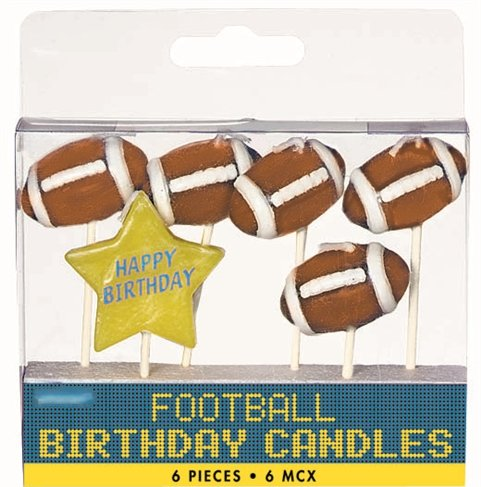Football Pick Candles - Pack of 6 Candles -