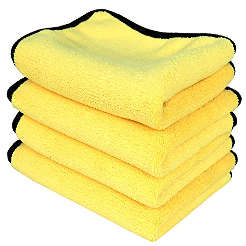 LANTEENSHOW (4-Pack) 800GSM PREMIUM 80/20 BLEND Ultra Thick Plush Microfiber towels for cars Buffing Cloths Super Absorbent Dry Auto Towels Yellow+Grey 16 x 24 inches