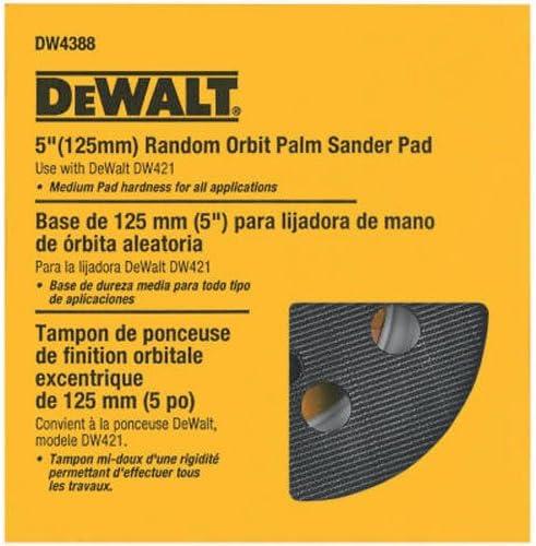 DEWALT DW4388 5-Inch Random Orbit Palm Sander Pad, Medium, Eight-Hole fits D26450, D26451, D26451K, D26453K, D2645