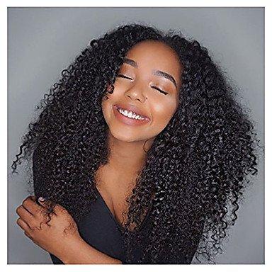 mujeres Real pelo peluca pelo natural Punta delantero leimlosen Punta parte delantera 130% Densidad Afro