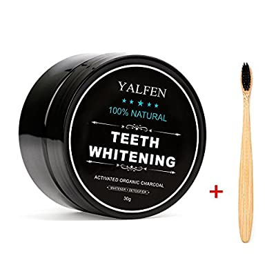 Teeth Whitening Charcoal Powder, Natural Activated Charcoal Teeth Whitener Powder with Bamboo Brush Oral Care Set