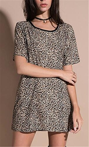 Short Bodycon 1 Dresses Casual Sleeve Women Jaycargogo Leopard EwnxaqFZzP
