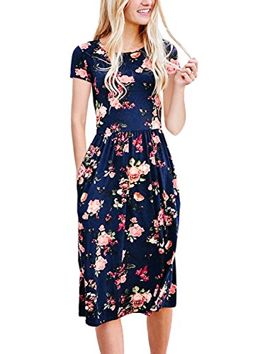 NICIAS Women Floral Short Sleeve Tunic Vintage Midi Casual Dress With Pockets Navy M (Vintage Short Tunic Sleeve)