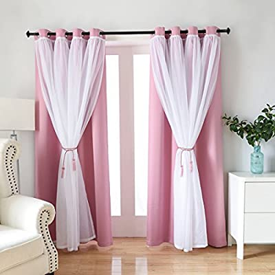 Didihou Voile Mix Match Blackout Curtain Elegant Panel Double Layer Darkening Thermal Insulated Window Treatment Grommet Drapes for Living Room Girls Bedroom, 1 Panel