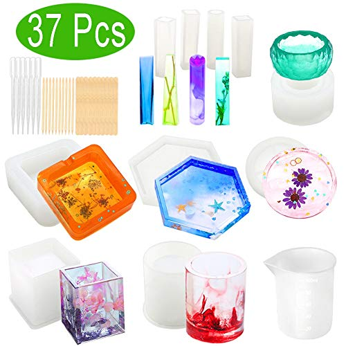 - Resin Molds, WEST BAY 37Pcs Silicone Molds for Resin Epoxy Resin Casting Art Molds for DIY Cup Pen Soap Candle Holder Ashtray Flower Pot Coaster Pendant Cylinder Cuboid Hexagon Round Molds Test Mixer