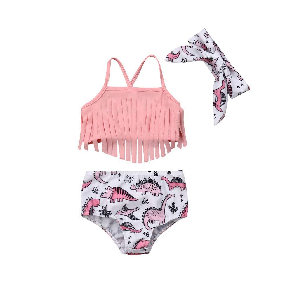 Pink, 70 Baby Girl Toddler Cute Dinosaur Tassels 2 Piece Set Swimwear Summer Swimsuit Bathing Tankini