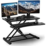 """PrimeCables32"""" Height Adjustable Standing Desk - Gas Spring Structure Sit to Stand Desk Workstation fits Dual Monitor - Ergonomic, Sturdy Design (Cab-DWS06-01)"""