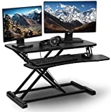 "PrimeCables 32"" Wide Platform Height Adjustable Standing Desk - Gas Spring Structure Sit to"