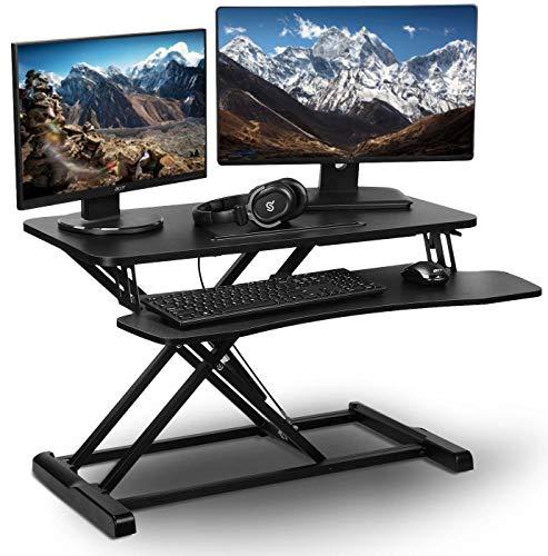 "PrimeCables32"" Wide Platform Height Adjustable Standing Desk - Gas Spring Structure Sit to Stand Desk Workstation fits Dual Monitor - Ergonomic, Sturdy Design (Cab-DWS06-01)"