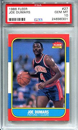 - 1986 Fleer Basketball Joe Dumars #27 PSA 10 GEM MINT 1986-87 NBA Trading Card Detroit Pistons