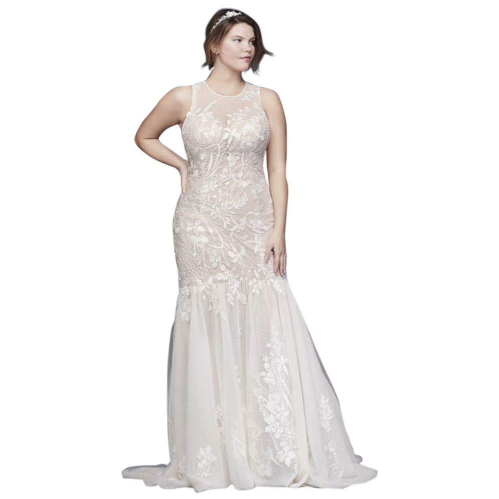 David\'s Bridal Blooming Applique Plus Size Wedding Dress ...