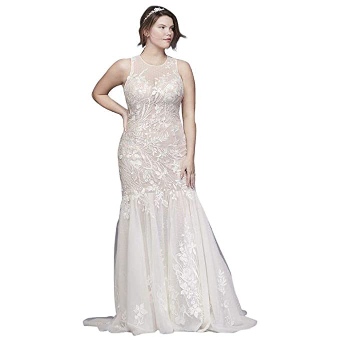 David\'s Bridal Blooming Applique Plus Size Wedding Dress ...
