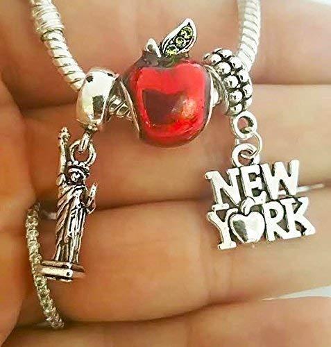 (EWT I Love New York The Big apple Statue of Liberty NY Landmark Travel charm pendant - For Bracelets)