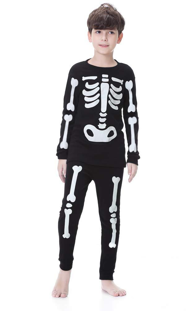 Children Halloween Pajamas Set, Boys Girls Glow-in-The-Dark Pjs, Unisex Kids 100% Cotton 2 Piece Sleepwear Set(4T,Glow Skeleton Black)